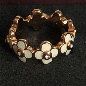 Henri Bendel White Enamel Petal Stack Ring Size 7